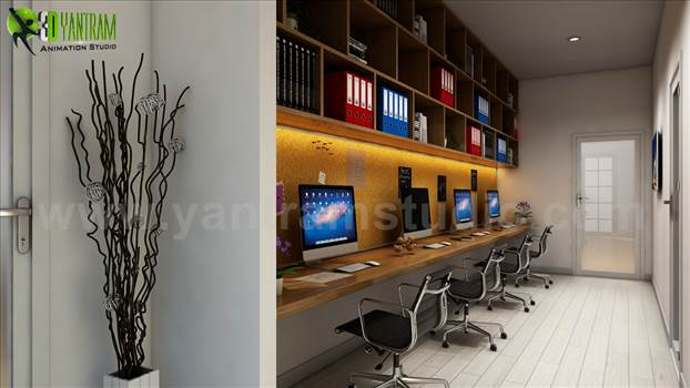 Take Advantage Computer Room Rendering Ideas by Yantram offices interior designer Atlanta, USA by yantramstudio