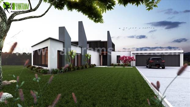 Beautiful Modern Exterior Rendering design by Yantram architectural design studio - London, UK by yantramstudio