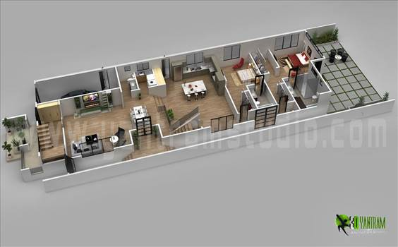 3D Floor Plan Design For Modern Home by yantramstudio