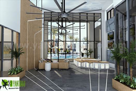 This is the Interior Reception Lobby View with Sunrise, Dashing Entrance gate with Modern Facilities, sitting space are available for Wait, Front of Entrance gate we can see a Pool Ideas by Yantaram Architectural Visualisation Studio.