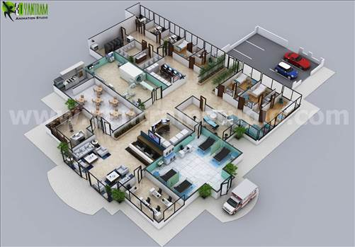 3D Hospital Floor Plan Layout Design by Yantram 3d floor plan software Chicago, USA by yantramstudio