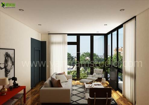 Living Room Interior Rendering by yantramstudio