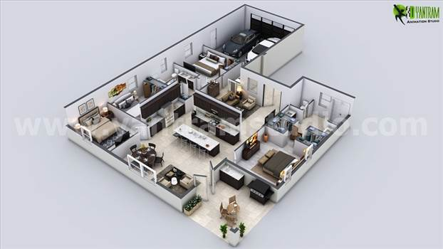 Modern House 3D Floor Plan by yantramstudio