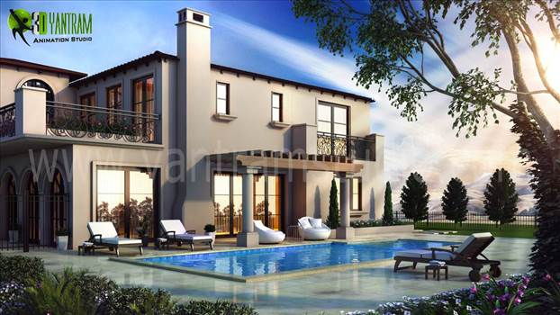 3D Exterior Modeling Pool View by yantramstudio