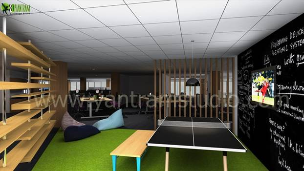 Office Interior Rendering View by yantramstudio
