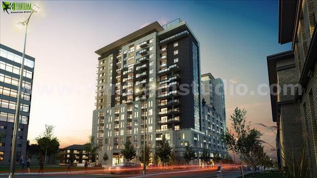 Dusk View Of A Super Modern High Rise Building Exterior Design, Luxury High-Rise Exterior Design 3D Architectural Visualization With Beautiful Dusk Visualization, Road Side Amazing High Rise Building With Beautiful Lighting By Yantram Architectural Design