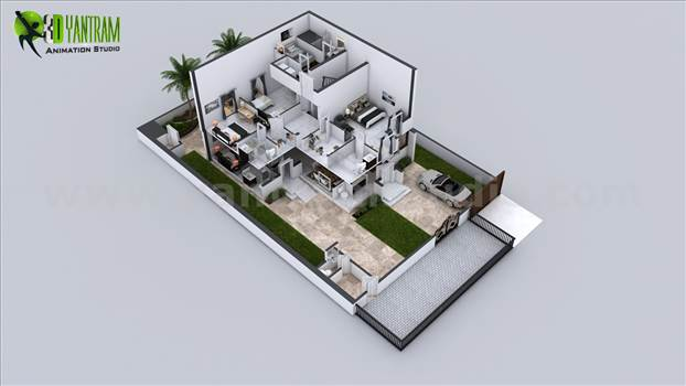 Every house had different plan and elevation but the way of presentation makes it understandable and unique, A floor plan with landscape and different floor layout makes it more beautiful.