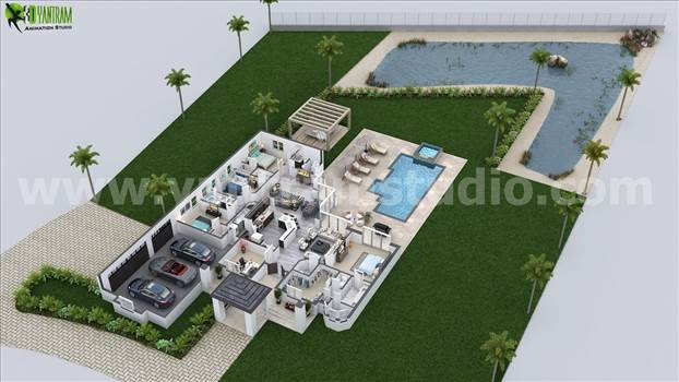 3D Floor plan with surrounding area of grass and pond to present your house more attractively. Modern furniture with perfect color combination makes house more beautiful.