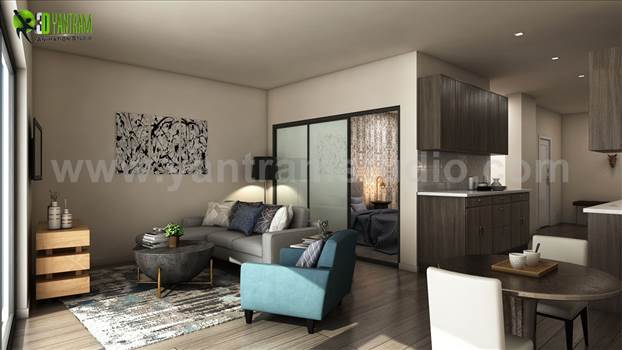 Latest Apartment with 3D Interior Modeling, Luxuries Combo of Living room and kitchen with Wooden Floor & Furniture  Ideas by Yantram Residential Interior Design Studio, Miami - USA
