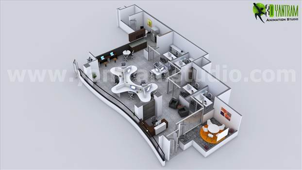 Workplace Strategies Modern Office 3D Floor Plan Rendering by yantramstudio