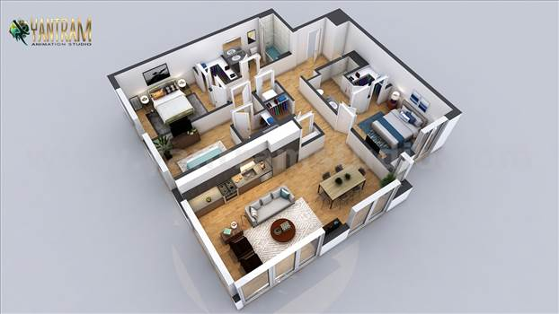 Residential 3D Floor Plan with 2 Bedroom ApartmentHouse Design by Architectural Modeling Firm, Dubai - UAE.jpg by yantramstudio