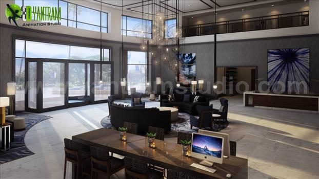 3D Hotel lobby Interior Design by yantramstudio