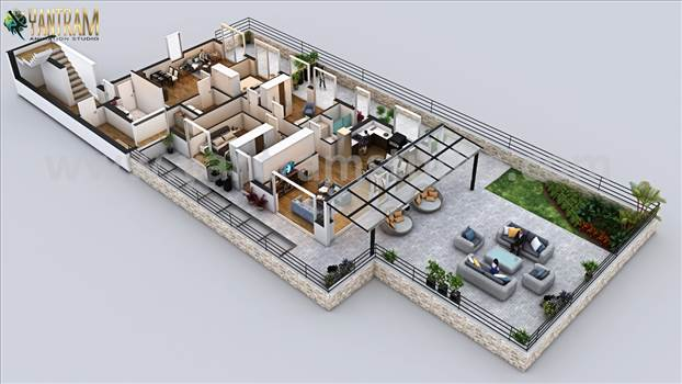 Project 175:- Penthouse 3d floor plan ideas 