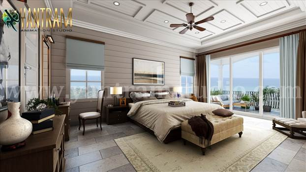 Project 1140:  Master Bedroom with Species Balcony 3d interior rendering services