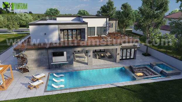 Project 176:- 3D Exterior Walkthrough with Poolside View