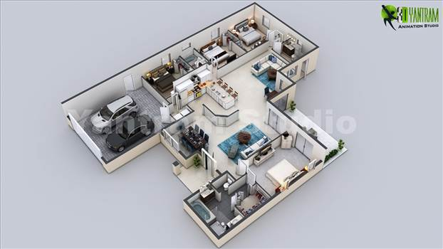 3D Virtual Floor Plan of Luxurious Villa Design, 3D Cut Section Floor Plan Bungalow with 4 Bedrooms, Open Island Kitchen with Wooden Furniture, Beautiful Living Room With White Sofa and Coffee Table, Architecture 3d Modern Luxury Home Plan With Parking Ar