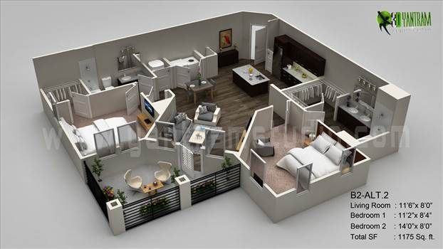 3D Floor Plan Visualization by yantramstudio