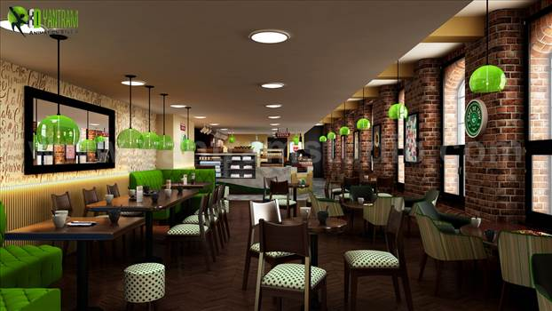 2-interior-conceptual-design-for-cafe-with-sitting-place-and-pendnant-light-developed-by-yantram.jpg - Project 185: Contemporary Cafe \u0026 Restaurant Design Concept Ideas\r\nClient: 874. Sadik \r\nLocation: London - UK \r\n\r\nConceptual Architectural Design Cafe Plans \u0026 Restaurant Ideas, Contemporary Cafe De Triv 3D Interior Design Modeling with beautiful wooden fur