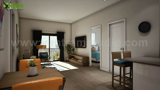 5-3d-walkthrough-living-room-with-wooden-furniture-and-balcony-visualization.jpg by yantramstudio