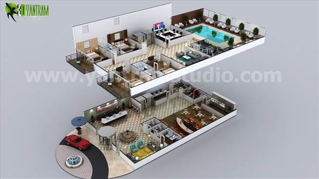 Multi Story Hotel 3D Floor Plan Design Ideas by yantramstudio