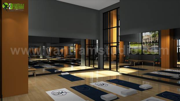 Group Fitness Gym Wood Floor Rendering Design Ideas by yantramstudio