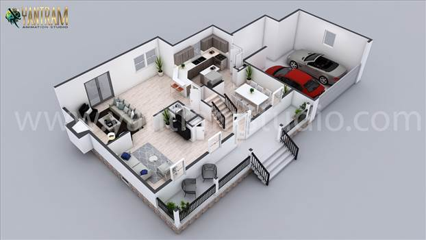 Residential 3D home Floor Plan Design by 3d Architectural Design Studio, Indianapolis - Indiana by yantramstudio