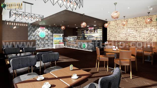 Project 1110: Unique Style Café & Bar 3D Interior Modeling