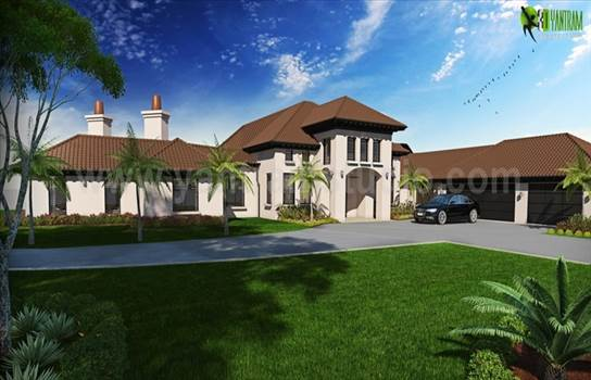 Realize the Dream House Exterior Rendering Front View by yantramstudio