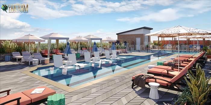 Project 1140:  Courtyard pool view of 3d Exterior Rendering Services