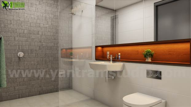 3d Interior Bathroom Rendering Design by yantramstudio