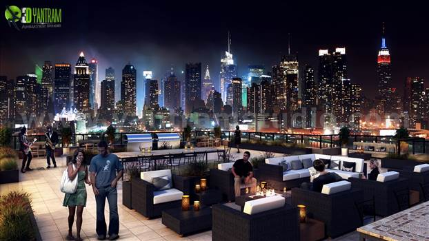 Roof top Design Ideas Evening Scene by yantramstudio