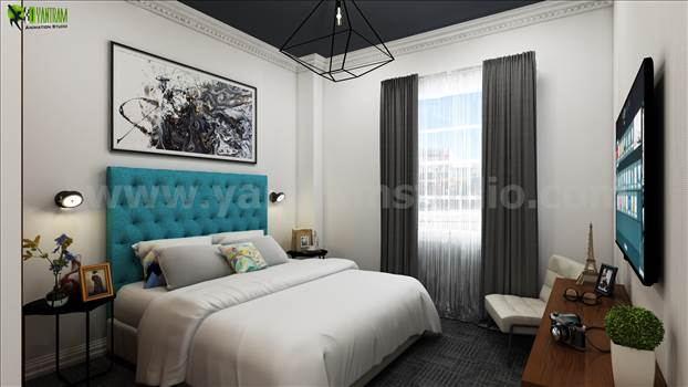 3D Interior Bedroom Rendering Design by yantramstudio