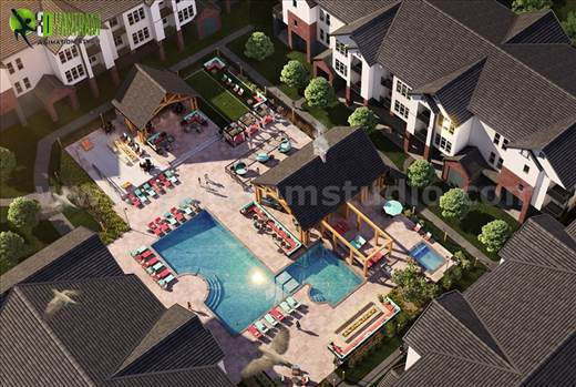 Birds Eye View Modern Pool Design Rendering Ideas Rome - An Unique design of common area/courtyard of community with modern furniture, fireplace, natural landscape/lighting and modern buildings makes view perfect.