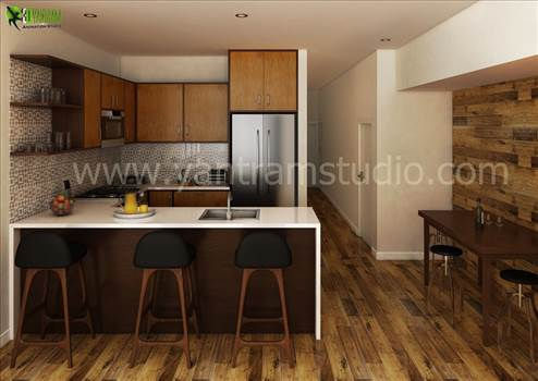 3D Interior Kitchen Design View by yantramstudio