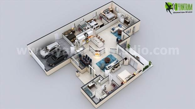 Modern Residential 3D Floor Plan Design by yantramstudio