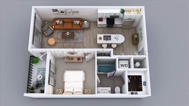 We create high quality Plan design/ 3d floor plan with all details covering flooring; lighting, texturing, furniture, etc. provide a unique visual representation for Residential apartment of 1 Bedroom 3D Floor Plan Rendering Service. We can transform arch