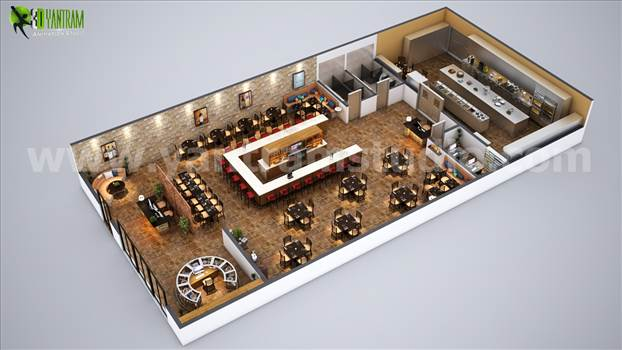 Fully Modern Bar 3D Floor Plan Design Ideas Berlin by yantramstudio