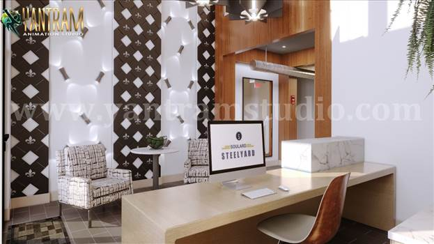 Modern Architecture  Reception Office 3d interior rendering by architectural studio.jpg by yantramstudio