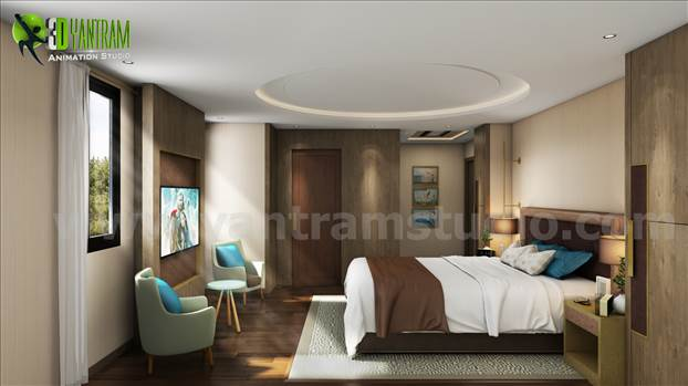 Modern Affordable bedroom interior design for your own dream house where you can get rid of your whole days's stress. Concept and design ideas by professional interior designer - Yantram Studio.