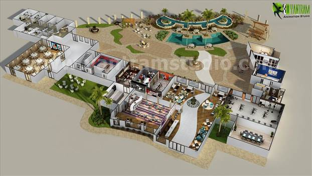 Resort floor plan is one of best conceptual floorplan of Yantram 3D Animation Studio where we had developed each area in detailing from reception to pool including employee station.
