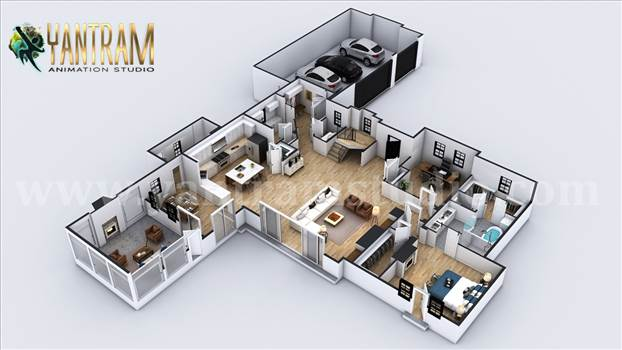Project 1135:  4-bedroom Simple Modern Residential 3D Floor Plan House Design