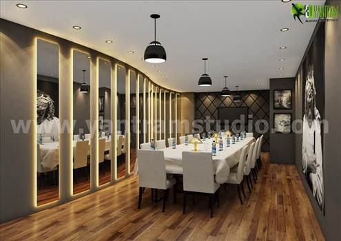 Modern Dining Room Interior Design Rendering by yantramstudio