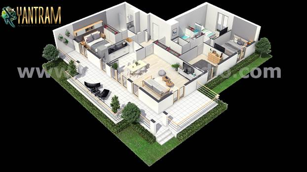 Project 189:- Modern house 3d floor plan design landscaping ideas Client: - 761. The Perry  Location: - Milan – Italy  http://www.yantramstudio.com/3d-floor-plan.html  Modern Residential House 3D Floor Plan Design with unique landscaping ideas, spac
