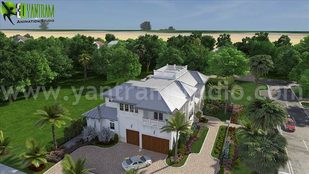 Modern Exterior Design Ideas for Beach House by 3d animation studio New jersey, USA by yantramstudio