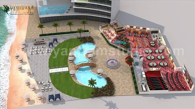 Project 951:- Game Zone with Beach side Swimming Pool Floor Plan Design Ideas