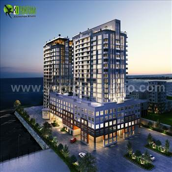 3D Exterior Modeling Of A New High-Rise Luxury Building, Dusk View Of Modern Constructed Futuristic Buildings With Shining Exterior Lights, Building Exterior Rendering View With Street and Surrounding Small Buildings, A Super Modern High Rise Building Ext