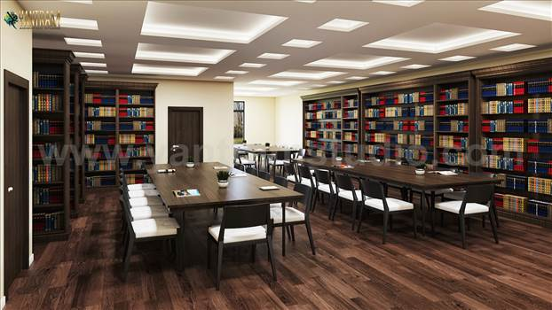 Contemporary Library Reading Room 3D Interior Design with Seating area by Architectural and Design Services, New York - USA.jpg by yantramstudio