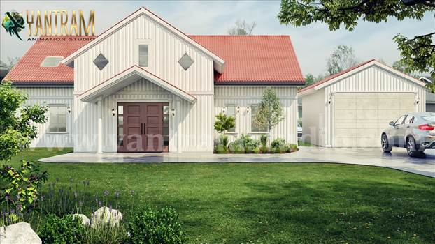 Project 1116: Farmhouse exterior rendering services with Frontyard Landscape Design  