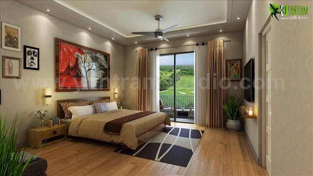 A Best Bedroom View with Gold Back Ground View USA by yantramstudio