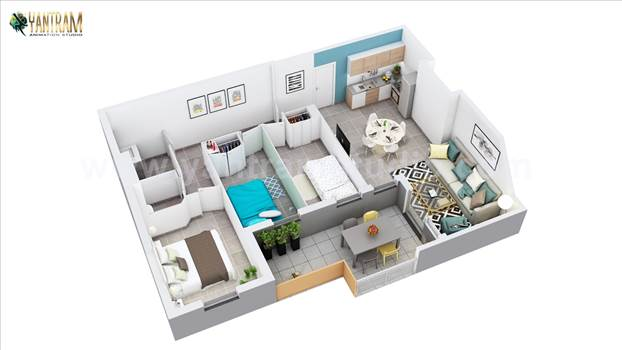 Project 1003:- 3D Home floor plan design of Residential Apartment Layout 